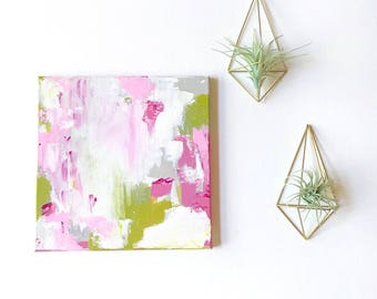 READY to SHiP, 12 x 12 Painting Original Painting, Acrylics on Canvas, Art Work, Girls Room Decor, Modern Art Abstract Painting, Pink, Green