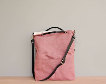 Tweed Foldover Shoulder Bag in Coral, Top Handle Convertible Purse, Pink Clutch with Detachable Leather Strap, Everyday Tote Bag, USA Made