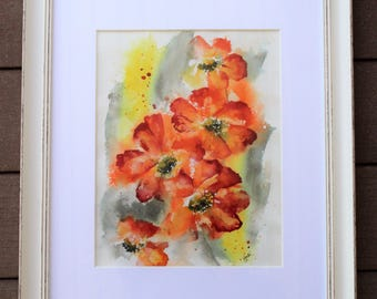 Orange floral Watercolor PRINT, flower painting, floral painting, wall hanging