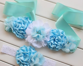 READY TO SHIP! | Vintage Baby Blue Wedding Dress or Flower Girl Belt | Sash and Headband Set