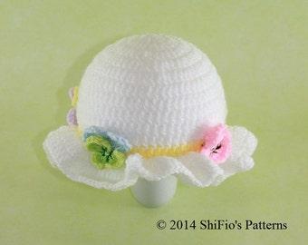 CROCHET PATTERN For Flower Easter Bonnet Hat Crochet Pattern in 5 Sizes, Preemie, Newborn, Toddler, Child  PDF 276e Digital Download