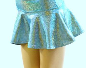 Seafoam Sparkling Holographic Metallic Circle Cut Mini Skirt Rave & Festival Clubwear 152190