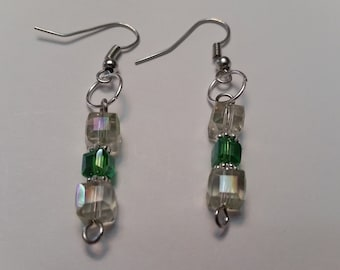 Square Aurora Borealis Clear Crystal and Small Green Square Crystal Dangle Earrings; Bridal Earrings;