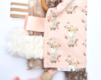 Blush Fawn Sensory Toy-Cotton + Fawn Faux Fur + Organic Wood Teethers + Ribbon + Optional Crinkle Material and Optional Squeaker