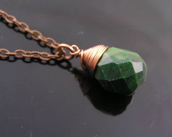 Jade Necklace, Green Jade Pendant, African Jade Jewelry, Wire Wrapped Gemstone Necklace, Gemstone Jewelry, Copper Necklace, N2049