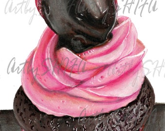 Chocolate Cupcake Drawing Print