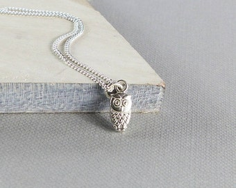 Sterling Silver Tiny Owl Necklace - Small Owl Pendant, Silver Owl Necklace, Tiny Bird Necklace, Silver Bird Pendant, Gift for Her