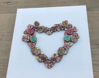 Shabby Chic Wooden Button Heart Canvas