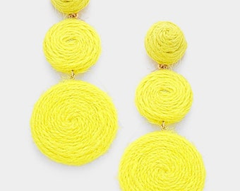Thread Dome Double Thread Disc Link Earrings - Yellow