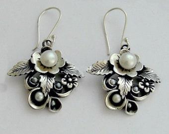 sterling silver earrings, botanical earrings, leaf earrings,  pearl earrings, bridal earrings, botanical earrings - After the rain E2154