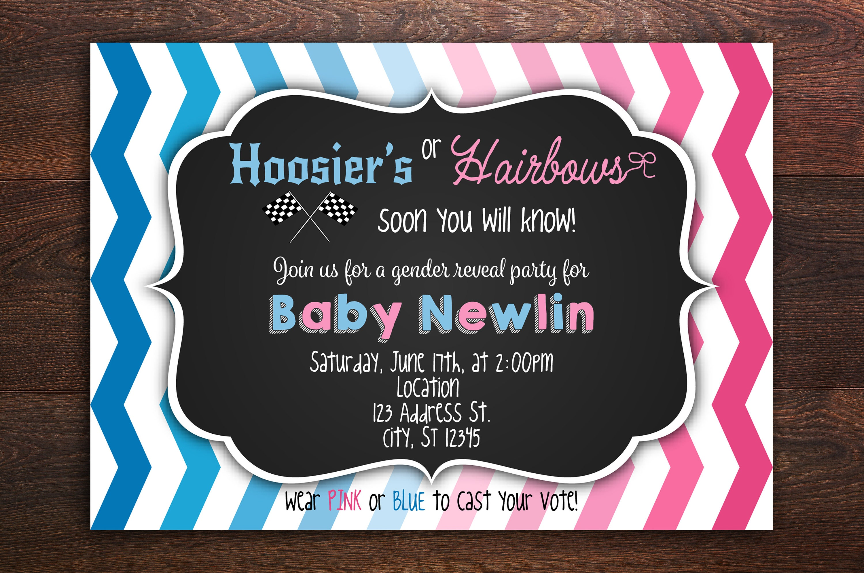 Hoosiers or Hairbows Gender Reveal Invitation Boy or girl