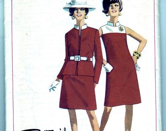 Vintage 1968 Butterick 4583 Sewing Pattern Misses' One-Piece Dress and Jacket Size 12 Bust 32