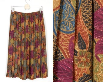 Sz 8 / 10 Batik Floral Print Pleated Midi Skirt - Vintage 80s Women's Exotic Colorful Alfred Dunner Below the Knee Skirt - Medium