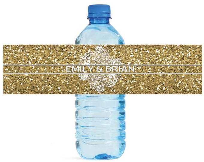 Featured listing image: Gold Glitter and Lace Wedding Water Bottle Labels Great for Engagement Bridal Shower Party easy to apply and use
