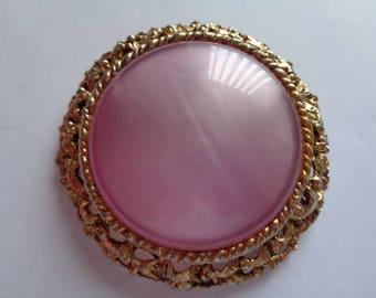 Vintage Unsigned Large Goldtone Openwork Pink Brooch/Pin