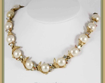 Vintage ART Rhinestone and Faux Pearl Necklace,Vintage Signed ART Necklace,Vintage Signed ART Choker,Vintage Signed Jewelry,Vintage Choker