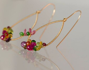 Multicolor Gemstone Hoops, Gemstone hoops, Sleek earrings, Gemstone Earrings