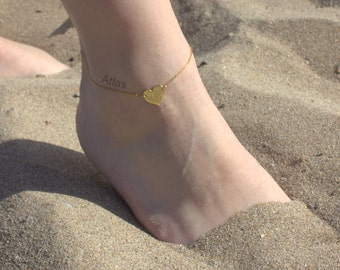 Heart  Anklet- Gold Heart - Silver Heart Anklet - Foot Jewelry