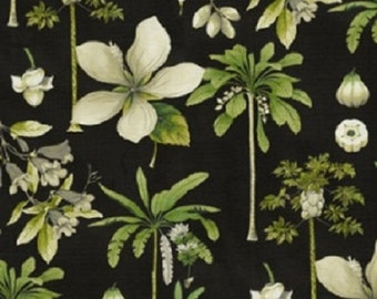 Catesby Palms color Ebony Willamsburg Printed Decorative Fabric