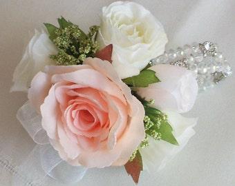 Prom Flower Bracelet,Wedding Wrist Corsage, Crystal and diamante bracelet,gorgeous bracelet