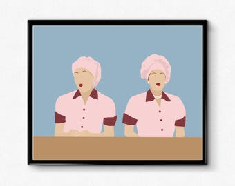 I Love Lucy Poster- Lucy and Ethel Minimalist Print,