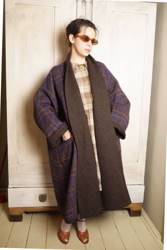 coat Unisex free style Coat Hipster brown Double coat Coat size Superb plaid Casual Boho Wool Tartan one Winter sided Street pwzxqB1