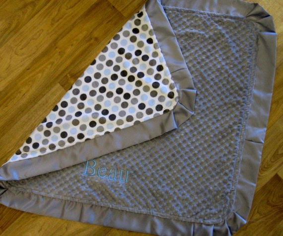 Monogrammed Blanket in Blue and Grey Dots and Grey Minky with Satin Ruffles
