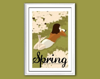 Poster Spring retro print in various sizes
