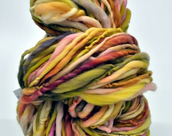 Handspun Yarn, Raibow, Mossy, Pink,  Bulky, Thick n thin, Soft, Wool, Wall hanging, Knitting, Weaving, Scarf Yarn, Yospun, Fiber