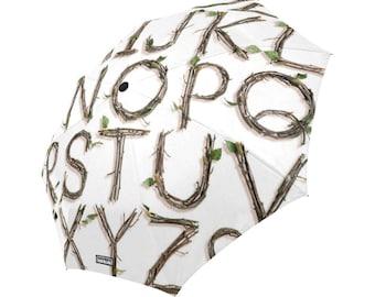 Twigs Alphabet Umbrella - sticks nature typography - foldable alphabet umbrella