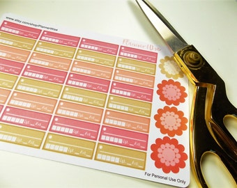 Pomodoro style stickers, Time Management,  Happy  Planner, Erin Condren, Tracking stickers