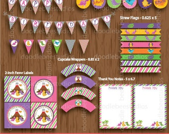 Girl Dinosaur Printable Party Package, Dinosaurs Party Package, Dinosaur Party Decorations, Instant Download Dinosaur Party Pack