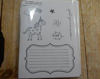 DESTASH - Unity Stamp Co Unicorns & Rainbows and Large Lined Blank Stamp
