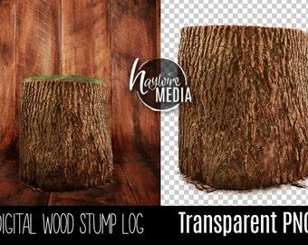 Transparent PNG Tree Stump Digital Prop for Photographers - For Baby or Newborn Digital Prop - Instant Download