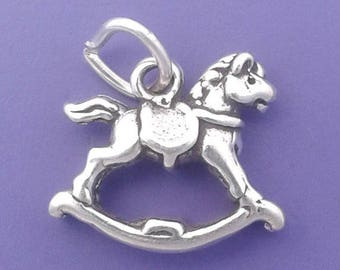 ROCKING HORSE Charm .925 Sterling Silver, Baby, Child Toy Pendant - lp2302