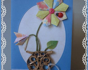 Mother's Day card: card embossed with pretty gold pot and origami flowers