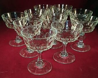 PREPAID SHIPPING...Cristal D'Arques Durand Arcoroc Petale Saucer Champagne/Sherbet S/11
