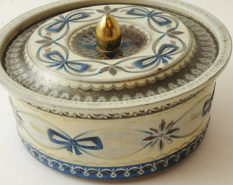 Vintage Tin White Blue Bows with Lid