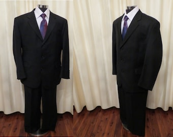 Vintage Mens' Stafford Ellison Wool Blend Two Piece Black Pinstripe Formal Suit Large Size Made in Australia