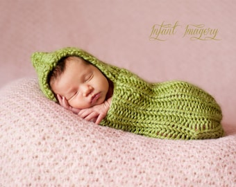 Knitting Pattern - Baby Cocoon Pattern - Newborn Photo Prop Pattern - Baby Sleep Sack Pattern - Baby Prop Knitting Pattern - Pea Cocoon