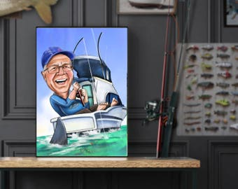 Custom Caricature - single person with optional fishing theme - Great retirement gift, birthday, anniversary- whenever!