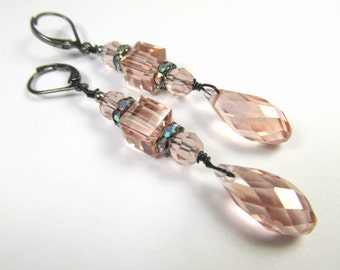 Pale Antique Pink Swarovski Vintage Rose Cubes and Faceted Crystal Drops with Black Gray Gunmetal leverback wires