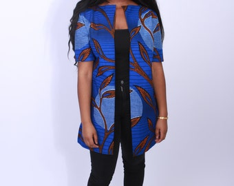 Long blazer/vest with short sleeves African Print/ Ankara