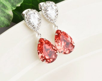 Swarovski Crystal Earrings - Coral Earrings Silver - Bridal Jewelry - Bridesmaid Earrings - Wedding Jewelry - Bridesmaid Jewelry Gifts