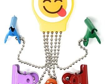 OctoClip Refrigerator Magnet – Fridge Organizer Locker Magnet Delicious Emoji with Multi Colored Clips, 1 Pack