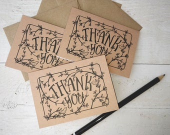 Mini, floral thank you, floral thank you card, rustic thank you card set, woodland thank you cards, rustic thank you, forest thank you card
