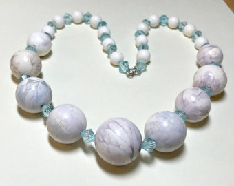 Vintage faux stone necklace, 19 inches, swirled marble like beads and plastic crystal bicones, aqua necklace,  boho necklace, 1970s
