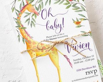 Baby Shower Invitations - Oh Baby Giraffe Safari (Style 13652)