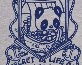 Panda tshirt cute noodles ramen kawaii bear boat women's