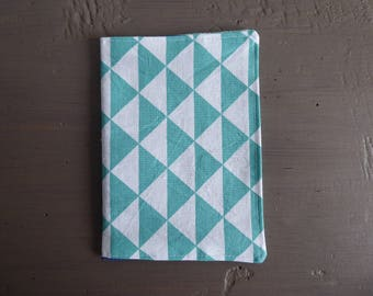 Turquoise and white triangles fabric Passport cover